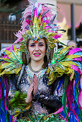 © Licensed to London News Pictures. 30/12/2019. London, UK. A performer from London School of Samba performs at the preview of the London New Year's Day Parade in Covent Garden Piazza.<br /> The London New Years Day Parade, in its 32nd year will take place on 1 January 2020 and will feature more than 10,000 performers from across the world. Photo credit: Dinendra Haria/LNP