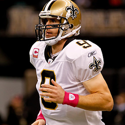 October 3, 2010; New Orleans, LA, USA; New Orleans Saints quarterback Drew Brees (9) during warm ups prior to kickoff of a game between the New Orleans Saints and the Carolina Panthers at the Louisiana Superdome. Mandatory Credit: Derick E. Hingle