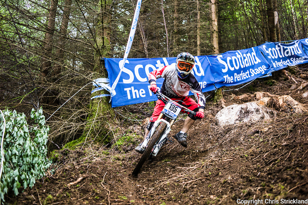 Nevis Range, Fort William, Scotland, UK. 4th June 2016. James Maltman of Australia tackles roots and dirt. The worlds leading mountain bikers descend on Fort William for the UCI World Cup on Nevis Range.