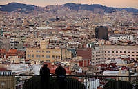 Looking out over the city of Barcelona, Spain from the Montjuic hill.