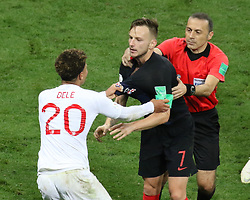 July 11, 2018 - Moscow, Russia - July 11, 2018, Moscow, FIFA World Cup 2018 Football, the playoff round. 1/2 finals of the World Cup. Football match Croatia - England at the stadium Luzhniki. Player of the national team Ivan Rakitic, Dele Alli, fight, hassle. (Credit Image: © Russian Look via ZUMA Wire)