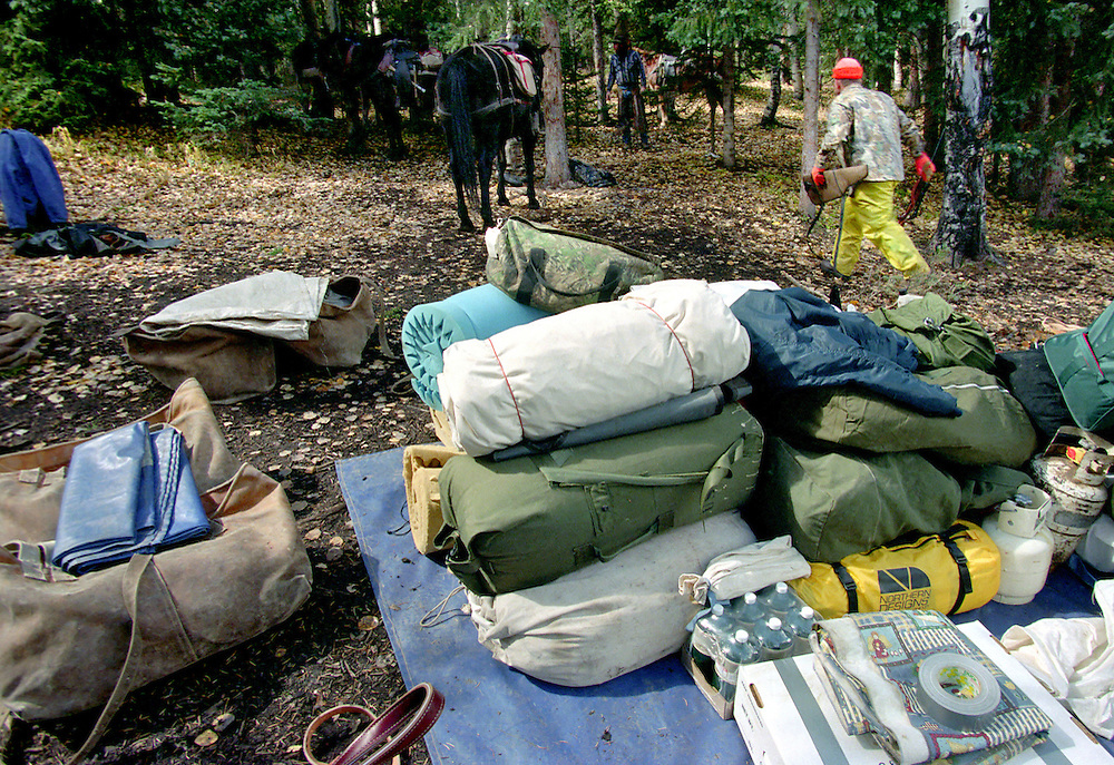 Packing at the trailhead in preparation for a hunt in the Colorado Rocky Mountains