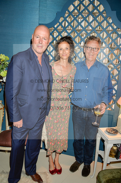 Left to right, SIMON OAKES, the MARCHIONESS OF WORCESTER and ROBERT FOX at a party to celebrate the publication of 'A Girl From Oz' by Lyndall Hobbs held at Flat 1, 165 Cromwell Road, London on 12th May 2016.