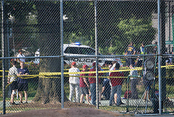 ALEXANDRIA, June 14, 2017  Policemen work at the site of the gunshot at Eugene Simpson Stadium Park in Alexandria, Virginia state, the United States, on June 14, 2017. Steve Scalise, a U.S. House Republican leader, was among possibly five people shot by a gunman Wednesday morning as he was playing baseball game with other congressmen and aides. The suspect who opened fire in the baseball game practice field in Alexandria, Virginia, was in custody, said Alexandria police.  zhf) (Credit Image: © Yin Bogu/Xinhua via ZUMA Wire)