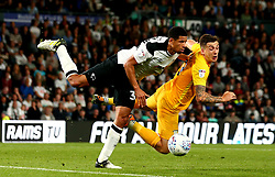Jordan Hugill of Preston North End beats Curtis Davies of Derby County to a header - Mandatory by-line: Robbie Stephenson/JMP - 15/08/2017 - FOOTBALL - Pride Park Stadium - Derby, England - Derby County v Preston North End - Sky Bet Championship