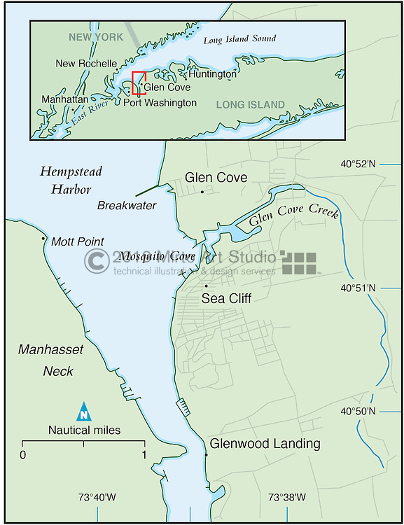 Vector map of Glen Cove, New York