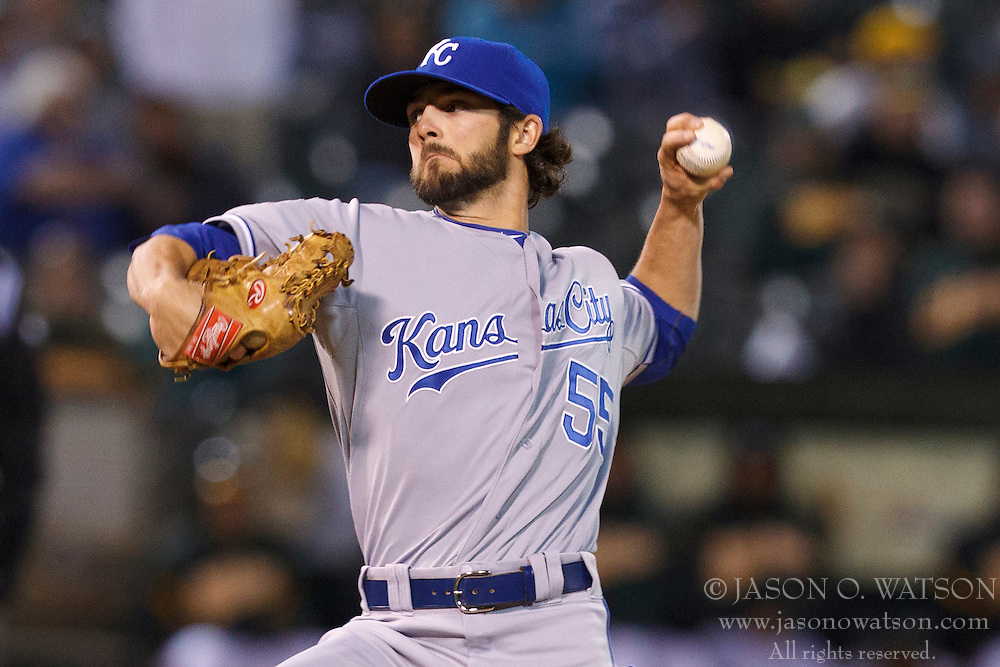 April 9, 2012; Oakland, CA, USA; Kansas City Royals relief pitcher Tim Collins (55) pitches against the Oakland Athletics during the seventh inning at O.co Coliseum.  Oakland defeated Kansas City 1-0. Mandatory Credit: Jason O. Watson-US PRESSWIRE