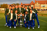 Team USA pose with the Walker Cup after their victory 15.5 to 10.5 at the Royal Liverpool Golf Club, Sunday, Sept 8, 2019, in Hoylake, United Kingdom. (Steve Flynn/Image of Sport)