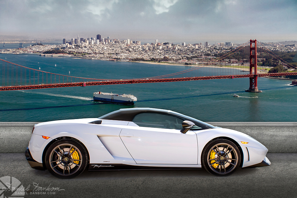 Composite photo of a Lamborghini with the San Francisco Bay view in the background.
