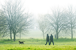 © Licensed to London News Pictures. 18/04/2019.<br /> Sidcup,UK. Morning misty and foggy weather is slowly disappearing as the sun comes up at Footscray Meadows in Sidcup, South East London.Photo credit: Grant Falvey/LNP