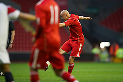 LIVERPOOL, ENGLAND - Thursday, May 5, 2011: Liverpool's Jonjo Shelvey scores the first goal against Manchester United during the FA Premiership Reserves League (Northern Division) match at Anfield. (Photo by David Rawcliffe/Propaganda)