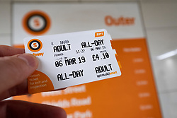 Detail of day ticket for Glasgow Subway system in Glasgow, Scotland UK
