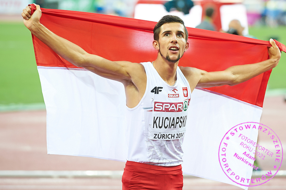 Artur Kuciapski from Poland competes in men's 800 meters final during the Fourth Day of the European Athletics Championships Zurich 2014 at Letzigrund Stadium in Zurich, Switzerland.<br /> <br /> Switzerland, Zurich, August 15, 2014<br /> <br /> Picture also available in RAW (NEF) or TIFF format on special request.<br /> <br /> For editorial use only. Any commercial or promotional use requires permission.<br /> <br /> Photo by &copy; Adam Nurkiewicz / Mediasport