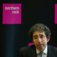 London Jan 22 - 4500 Staff at Northern Rock to receive tomorrow 10% of their salary as bonus under an agreement approved by Treasury last year<br /> File picture shows Ron Sandler, executive chairman of the Northern Rock gives a press conference  with Financial Director  Ann Godbehere at their headquarters in Gosforth .<br /> <br /> <br /> ***Standard Licence NUJ Fee's Apply To All Image Use***<br /> XianPix Pictures  Agency <br />  tel +44 (0) 845 050 6211<br />  e-mail sales@xianpix.com <br /> www.xianpix.com