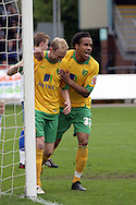 Bristol - Saturday May 1st, 2010: Stephen Hughes (L) celebrates scoring his side's third goal with team mate Oli Johnson of Norwich City during the Coca Cola League One match at The Memorial Stadium, Bristol. (Pic by Mark Chapman/Focus Images)..