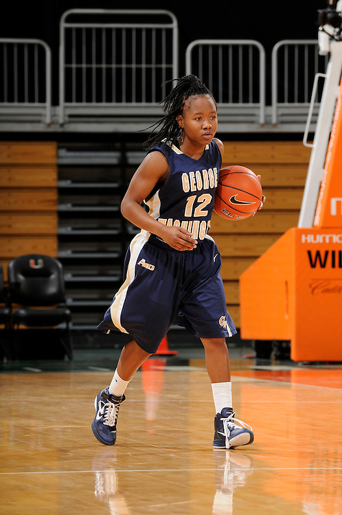 December 28, 2010: Danni Jackson of the George Washington Colonials in action during the NCAA basketball game between GWU and the Miami Hurricanes. The 'Canes defeated the Colonials 83-62.