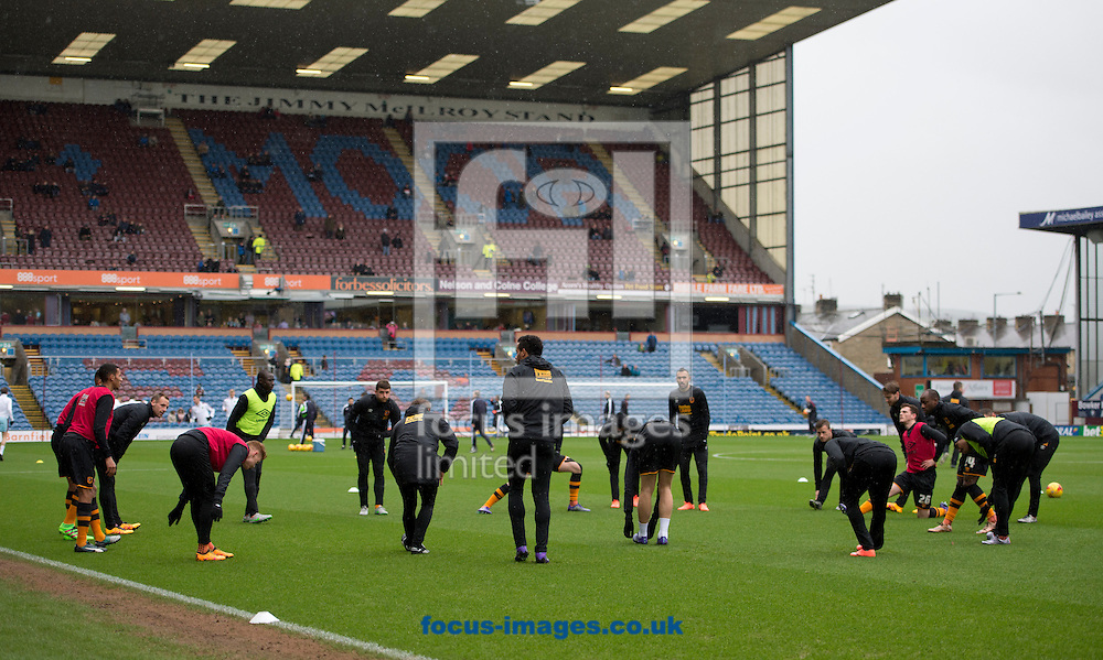 Hull City players warm up before the Sky Bet Championship match at Turf Moor, Burnley<br /> Picture by Russell Hart/Focus Images Ltd 07791 688 420<br /> 06/02/2016