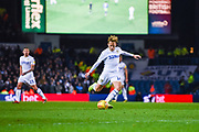 Samu Saiz of Leeds United (14) looks to spread the play by passing the ball during the EFL Sky Bet Championship match between Leeds United and Bristol City at Elland Road, Leeds, England on 24 November 2018.