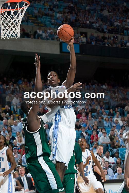 2004 December 30:  Byron Sanders of UNC during a 107-64 UNC-Chapel Hill victory over Cleveland State at the Dean Smith Center on the Campus of the University of North Carolina in Chapel Hill, NC.