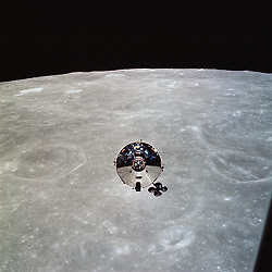 """In Lunar Orbit - (FILE) -- The Apollo 10 command module (CM) Charlie Brown is seen from the lunar module (LM) Snoopy after separation on May 22, 1969 in lunar orbit. This photo is part of the book """"Apollo: Through the Eyes of the Astronauts"""" published to commemorate the 40th anniversary of the first manned lunar landing on July 20, 1969..Photo by NASA via CNP /ABACAPRESS.COM"""