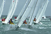 Approaching the top marks 2002 Waiwera Infinity Water Etchells World Champs 9/11/2002 (© Chris Cameron 2002)
