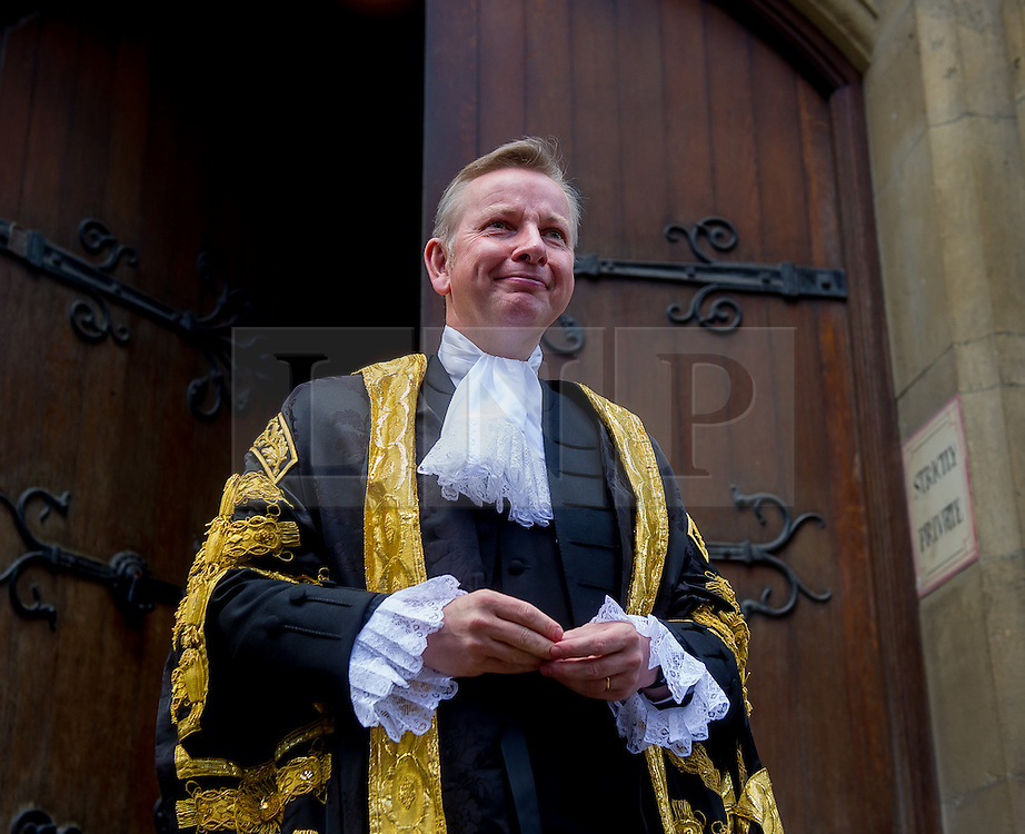 © Licensed to London News Pictures. *19/05/2015. Judges Entrance East, Royal Courts of Justice, London, UK. Lord Chancellor The Rt Hon Michael Gove MP arrives at the Royal Courts of Justice to be sworn in. Photo credit : David Tett/LNP