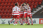 GOAL Ben Whiteman Celebrates scoring 1-0 during the EFL Sky Bet League 1 match between Doncaster Rovers and Rochdale at the Keepmoat Stadium, Doncaster, England on 29 December 2017. Photo by Daniel Youngs.