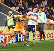 Motherwell's Tom Hateley and Dundee's Motherwell boss Steven Milne - Motherwell v Dundee at Fir Park in the Clydesdale Bank Scottish Premier League.. - © David Young - www.davidyoungphoto.co.uk - email: davidyoungphoto@gmail.com