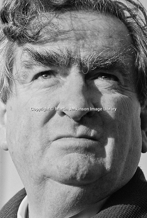 Dennis Healey MP before speaking at a rally following a march against unemployment, Liverpool. 29-11-1980