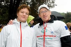 Matic Osovnikar (R) and Martina Ratej at Special Olympics Law Enforcement Torch Run for Special Olympics European Summer Games 2010, Warsaw, Poland in September 7, in Ljubljana, Slovenia. (Photo by Matic Klansek Velej / Sportida)