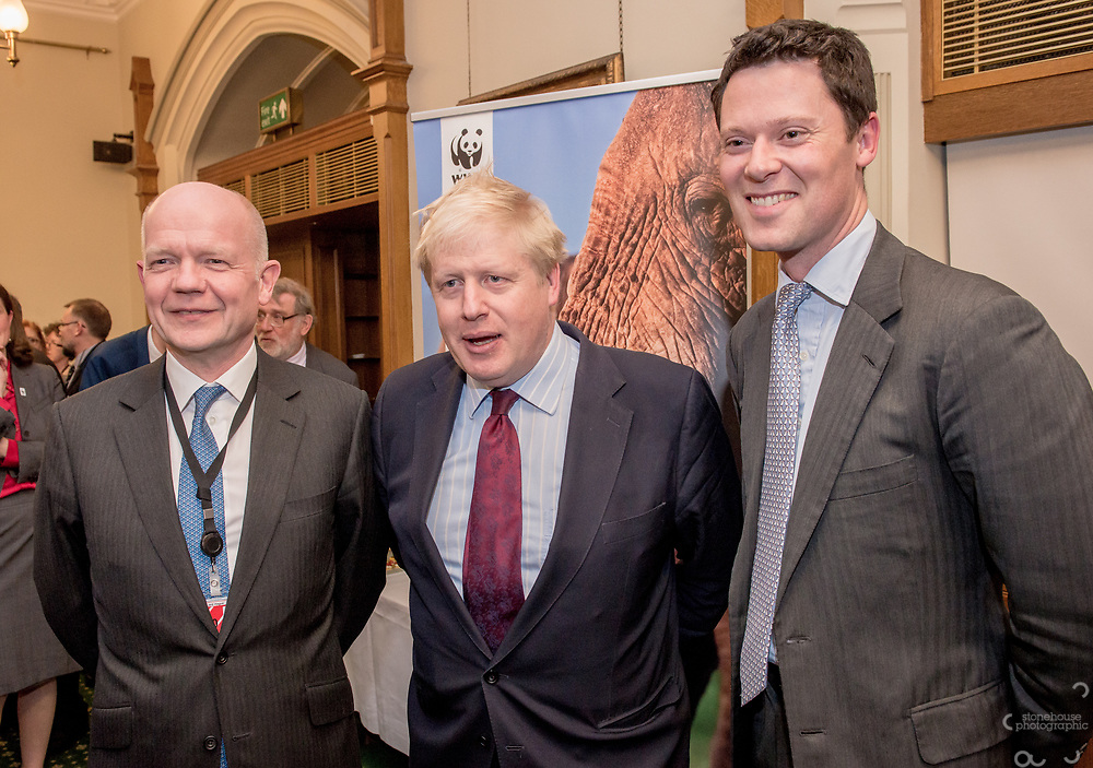 William Hague, Boris Johnson during the Chinese Embassy and WWF-UK's reception to mark the closure of China's domestic Ivory Market, Churchill room, Palace of Westminster, London.<br /> Hosted by Mr Richard Graham MP.<br /> <br /> 31st January, 2018.