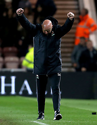 Middlesbrough manager Steve Agnew celebrates the victory over Sunderland - Mandatory by-line: Robbie Stephenson/JMP - 26/04/2017 - FOOTBALL - Riverside Stadium - Middlesbrough, England - Middlesbrough v Sunderland - Premier League