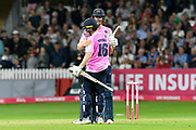 Middlesex win - Eoin Morgan of Middlesex and George Scott of Middlesex celebrates the win during the Vitality T20 Blast South Group match between Somerset County Cricket Club and Middlesex County Cricket Club at the Cooper Associates County Ground, Taunton, United Kingdom on 30 August 2019.
