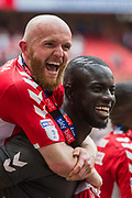 Jonathan Williams (Charlton) & Naby Sarr (Charlton) celebrating Charlton Athletic FC win & promotion to the Championship League following the EFL Sky Bet League 1 play off final match between Charlton Athletic and Sunderland at Wembley Stadium, London, England on 26 May 2019.