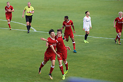 BIRKENHEAD, ENGLAND - Wednesday, September 13, 2017: Liverpool's Curtis Jones celebrates scoring his sides first goal with Liam Millar during the UEFA Youth League Group E match between Liverpool and Sevilla at Prenton Park. (Pic by Paul Greenwood/Propaganda)