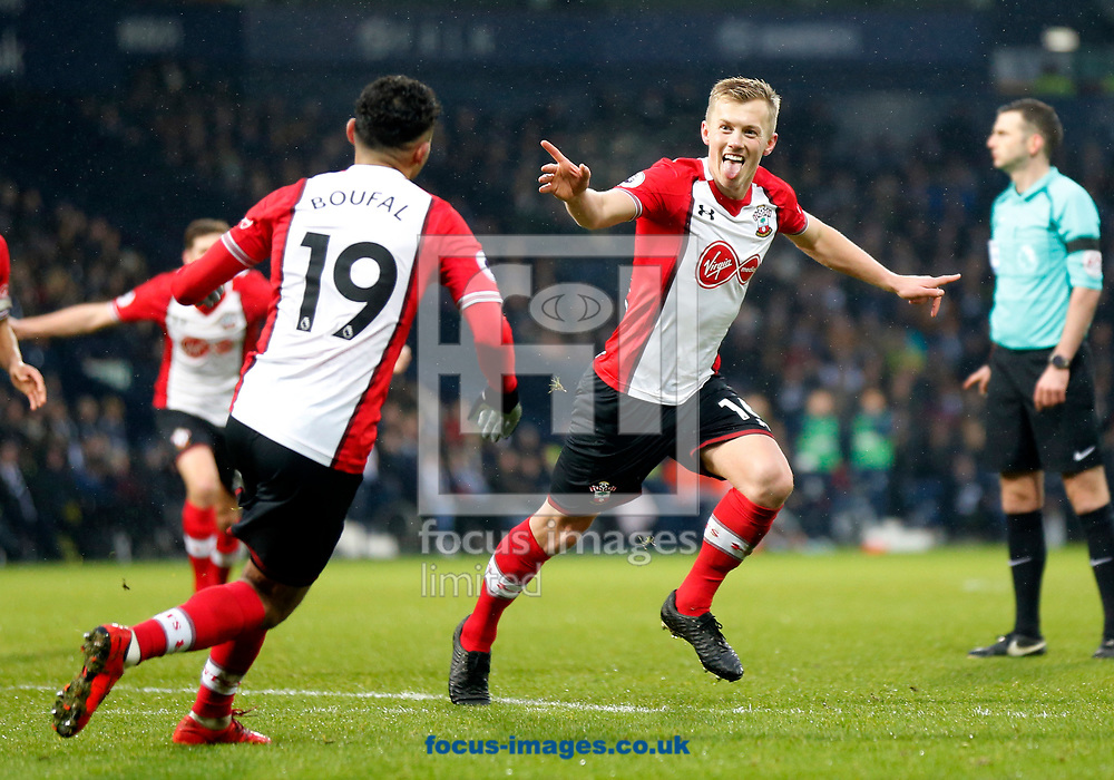 James Ward-Prowse (r) of Southampton celebrates scoring to make it 1-3 during the Premier League match at The Hawthorns, West Bromwich<br /> Picture by Simon Moore/Focus Images Ltd 07807 671782<br /> 03/02/2018