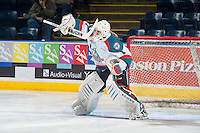 KELOWNA, CANADA - JANUARY 7: Jackson Whistle #1 of Kelowna Rockets warms up in net against the Vancouver Giants on January 7, 2015 at Prospera Place in Kelowna, British Columbia, Canada.  (Photo by Marissa Baecker/Shoot the Breeze)  *** Local Caption *** Jackson Whistle;