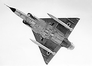 Israeli Air Force Dassault Mirage IIICJ fighter plane in flight - Archival Black and white Image ..