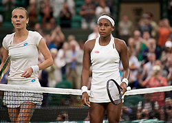 LONDON, ENGLAND - Wednesday, July 3, 2019: 15-year-old Cori Gauff (USA) (R) with Magdalena Rybarikova (SVK) after winning 6-4, 6-4 during the Ladies' Singles second round match on Day Three of The Championships Wimbledon 2019 at the All England Lawn Tennis and Croquet Club. (Pic by Kirsten Holst/Propaganda)