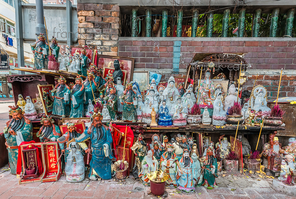 statues shrine Tin Hau Temple Tsim Sha Tsui Kowloon in Hong Kong