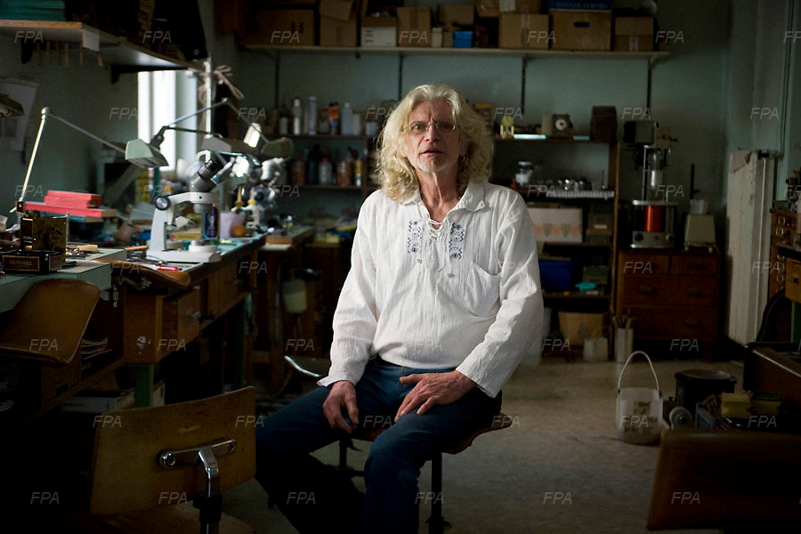 Billy Beguelin is one of the oldest and most experience watch makers in Bienne, Switzerland.  He has been working as a watchmaker since 1963 in Bienne.  He is known in the industry for his crazy creative style and that if there is someone to fix something that no one else can it is Billy Beguelin. Image © Angelos Giotopoulos/Falcon Photo Agency