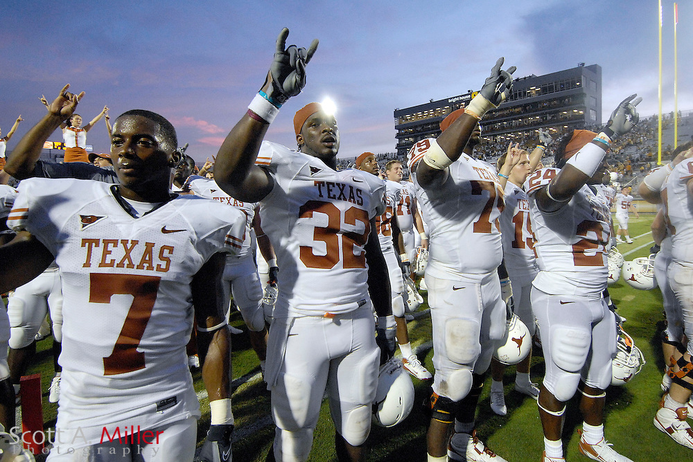 Sep 15, 2007; Orlando, FL, USA; Texas Longhorns celebrate their 35-32 win over the Central Florida Knights at Bright House Stadium. ...©2007 Scott A. Miller