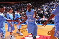 North Carolina guard/forward Marcus Ginyard #1 during introductions at the game agaist the Ohio State Buckeyes at the 2K Sports Classic at Madison Square Garden. (Mandatory Credit: Delane B. Rouse/Delane Rouse Photography)
