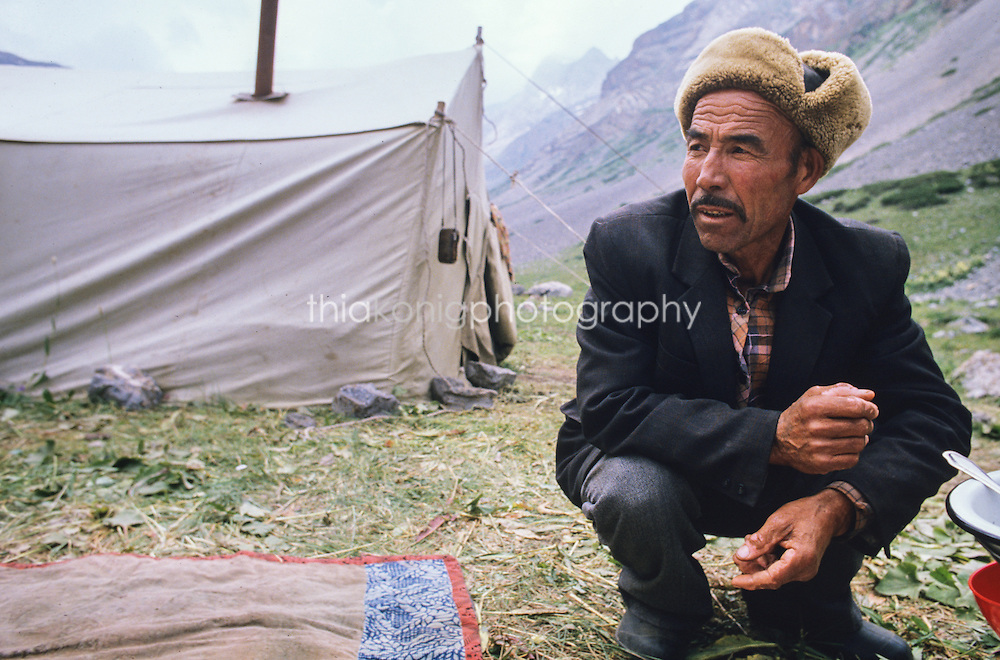 Nomadic sheep herder in the Tien Shan Mountains, Kyrgyzstan