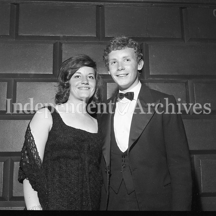 The Trinity Ball, Valerie Russell and Liam Strong pictured at the ball, May 30 1964.<br /> (Part of the Independent Ireland Newspapers/NLI Collection)