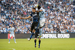 August 9, 2017 - Kansas City, Kansas, United States - Kansas City, KS - Wednesday August 9, 2017: Darwin Ceren, Latif Blessing during a Lamar Hunt U.S. Open Cup Semifinal match between Sporting Kansas City and the San Jose Earthquakes at Children's Mercy Park. (Credit Image: © Amy Kontras/ISIPhotos via ZUMA Wire)