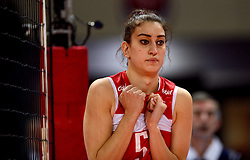 09-01-2016 TUR: European Olympic Qualification Tournament Turkije - Italie, Ankara<br /> De strijd om de tweede Japan ticket wordt gewonnen door Italie. Turkije verliest in de 5de set met 13-15 / Kubra Akman #5 of Turkey