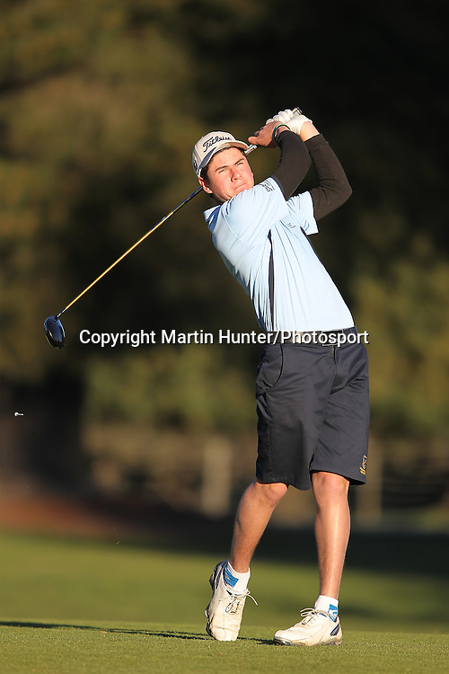 Kadin Neho of Whangarei Boys High School tees off during the 2013 NZ Secondary Schools Golf Championship at Templeton Club, Christchurch, New Zealand. 2 September 2013. Photo: Martin Hunter/photosport.co.nz