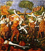 Plaque : Turnus, Overwhelmed by the Trojans, Crosses the river to return to his companions.  Aeneid, Book IX, Limoges, about 1533-35.