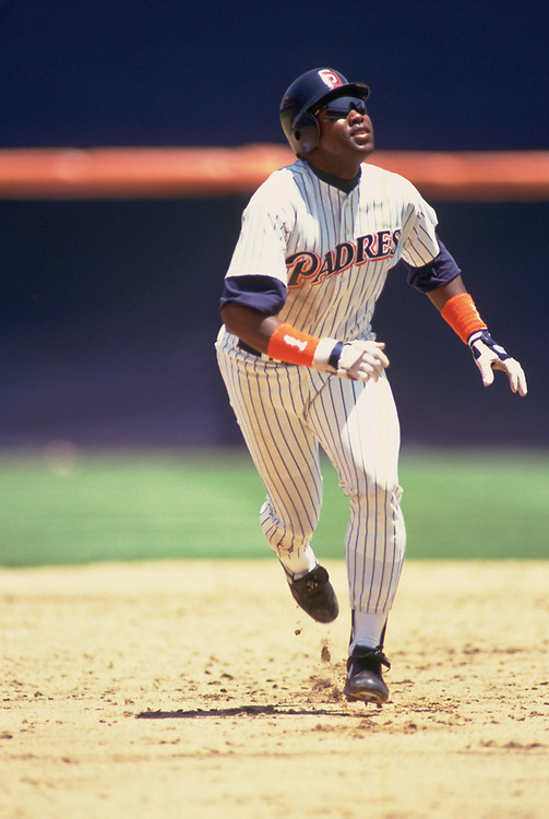 SAN DIEGO - 1992:  Tony Gwynn of the San Diego Padres runs the bases during an MLB game at Jack Murphy Stadium in San Diego, California during the 1992 season. (Photo by Ron Vesely).  Subject:   Tony Gwynn